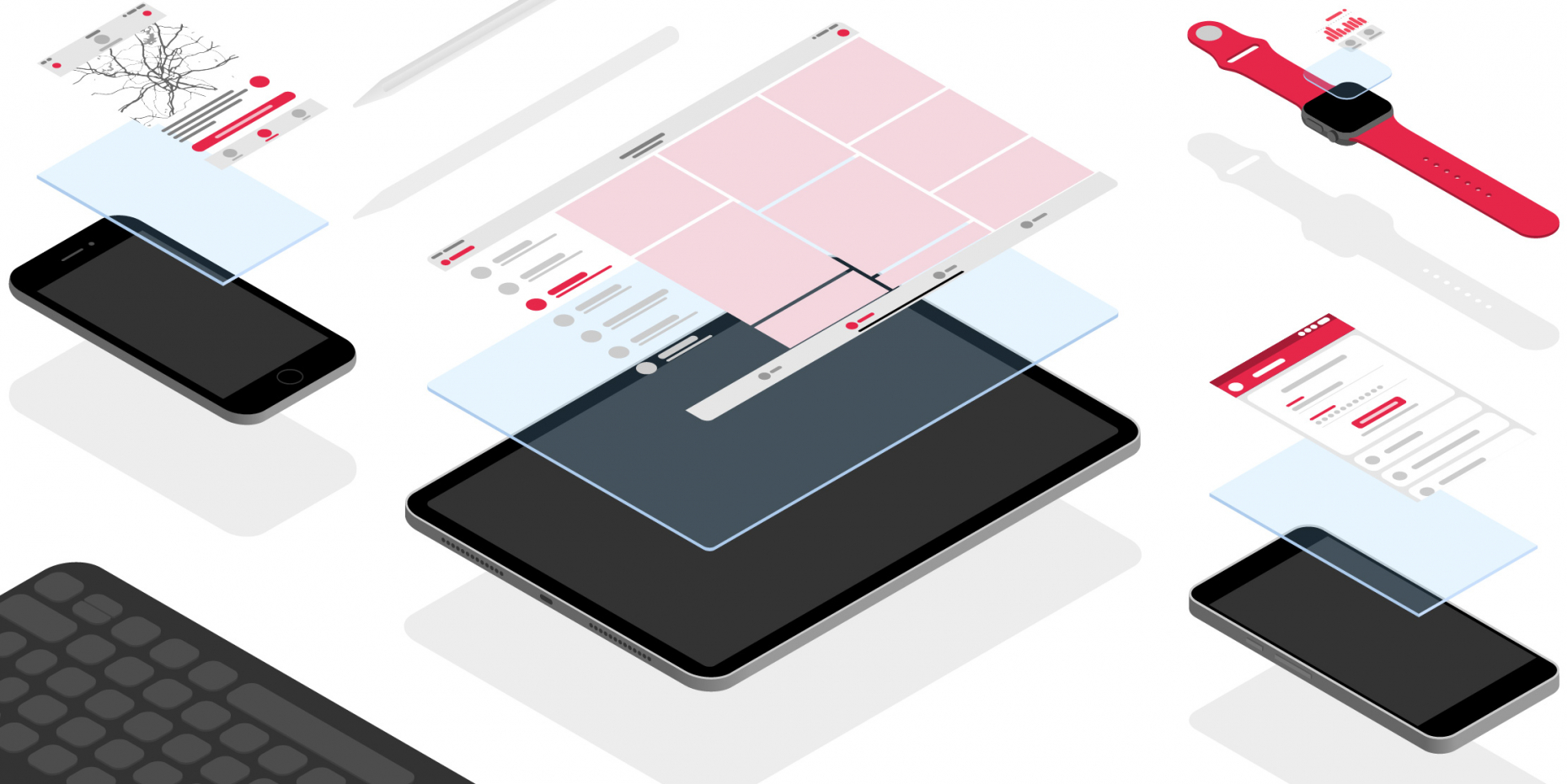 Verschiedene Mobile Geräte wie smart Phone, Tablet und smart Watch.