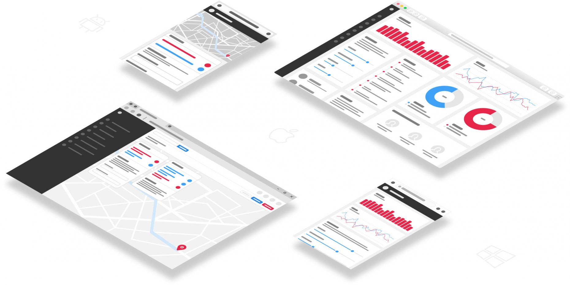 Darstellung von Interface-Elementen verschiedener Web-Apps