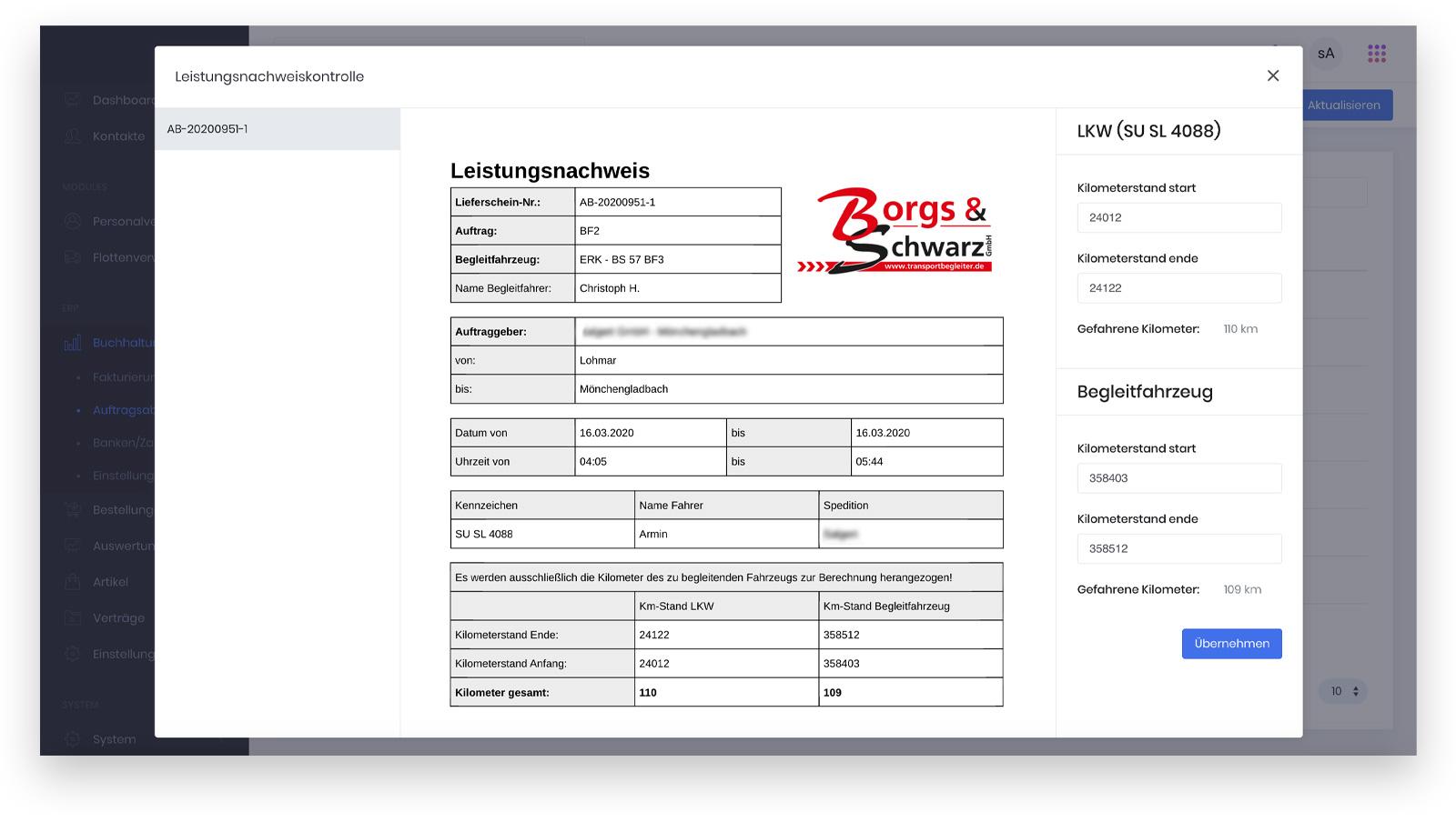 Borgs & Schwarz – Leistungsnachweis